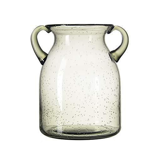 QUECAOCF Bunte Blumenvase aus Glas mit Griff, handgefertigte Luftblasen, Glasvase für Tafelaufsatz, Heimdekoration (blau, lila, grau, grün) (grau, klein)