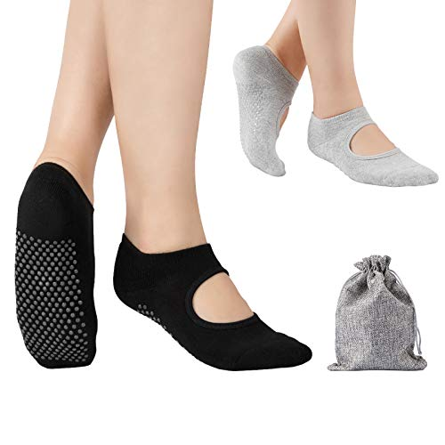 Tusscle Yoga Socken für Damen rutschfest, Ideal für Yoga Pilates, Ballett,Tanz,Barre,Fitness, Barfuß-Training, Trampolin (2 Paar)