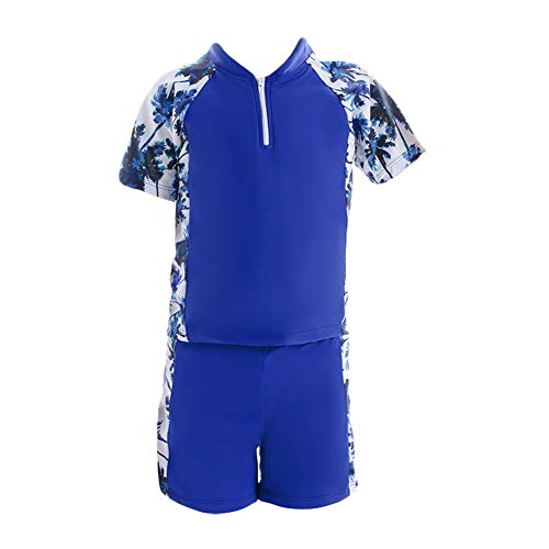 WPNAKS Little Boys 2-Piece Swimsuit Kids Summer Swimwear Slim Trunk and Rash Guard Swim Shirts Set (6-8 Years, Blue)