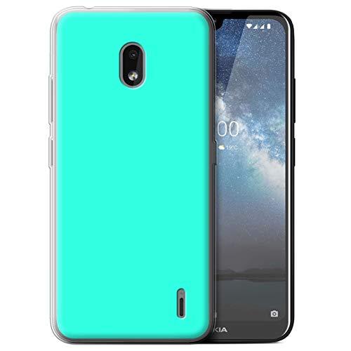 Handy Hülle kompatibel mit Nokia 2.2 2019 Farben Türkis Transparent Klar Ultra Sanft Flexibel Silikon Gel/TPU Hülle Cover