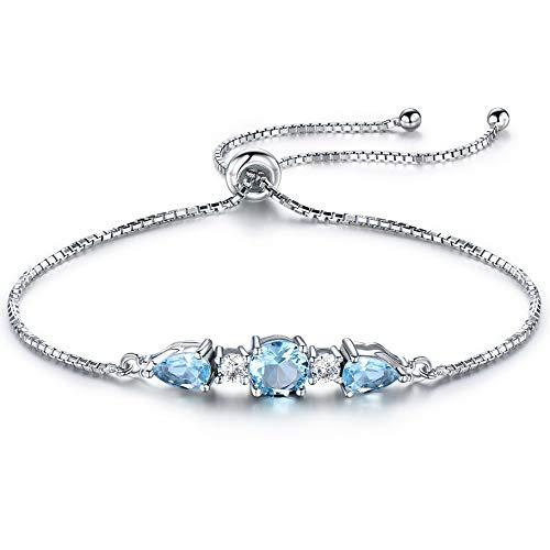 NNKKBH Pulseras de Plata esterlina para MujerJoyería dePulseraAjustable de topacio Azul Cielo Natural