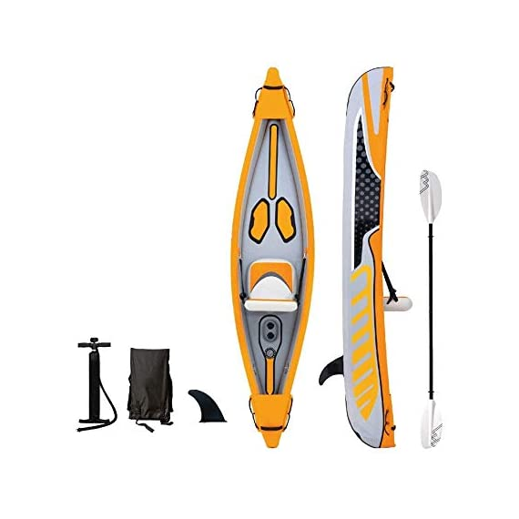 JNWEIYU Double Canoe Kayak, High-end Inflatable Boat, Brushed Material,2-Person Inflatable Kayak Set with Aluminum Oars… 1 Inflated size:Single 325 X 72cm , Double 425 x 78cm. Includes a high-output pump and aluminium oars. Capacity person maximum weight 120kg/200kg.