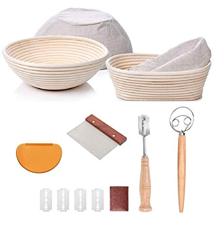 Bread Proofing Basket Set Of 2 Round and Oval, Banneton Proofing Basket + Danish Dough Whisk + Bread Scoring Lame + Stainless Steel Dough Scraper + Flexible Dough Scraper, Sourdough Bread Making Tools Kit, Baking Gifts for Bakers YAANI