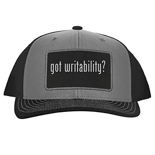 got Writability? - Leather Black Patch Engraved Trucker Hat, Grey-Steel, One Size