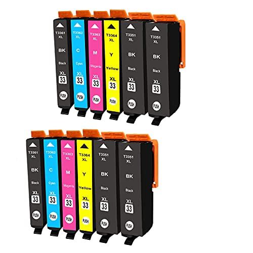 BADA 33 XL - Cartucho de tinta compatible con Epson Expression Premium XP-530 XP-540 XP-630 XP-635 XP-640 XP-645 XP-830 XP-900 (12 unidades)