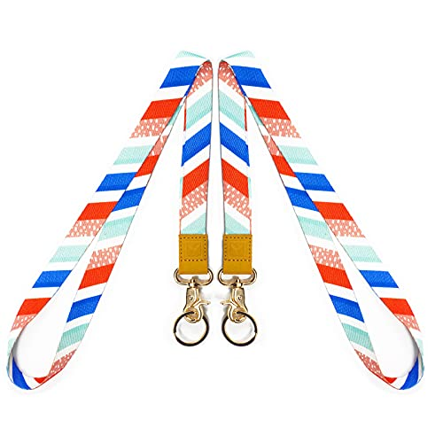 YOYOGO Lanyard for Keys, Cool Neck Strap Key Chain Holder Lanyards for ID Badges (Colorful Twill, 2 Pack)