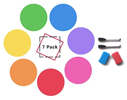 Dry Erase Dots for Tables, Wall pops (Set of 7) Dry Erase Circles: Removable PET Vinyl for Easy Erasing - 7 Multicolor Whiteboard Stickers Work on Tables, Whiteboard, or Wall Pops!