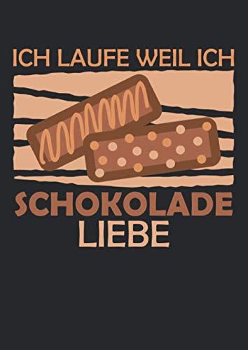 Notizbuch A4 liniert mit Softcover Design: Lustiger Läufer Spruch Laufen für Schokolade Running Fitness: 120 linierte DIN A4 Seiten