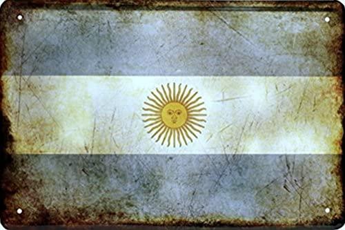 Länder Fahne Nationen National Flag Flagge Deko Blechschilder Wandschild Türschild (20 x 30 cm, Argentina Argentinien 1424)