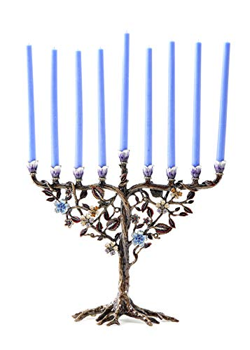 Home Jewel Decor Hand Painted Jewish Menorah Candle Holder with Flower Vine Design Made from Metal Embellished with Crystals for Hanukkah or Home Gift. FIT 9 mm(5/16') Candles, Size-9'X7.5'