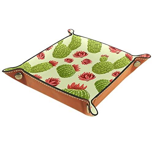 Yitian Bandeja de cuero PU joyería de cuero Catchall Cactus patrón verde pintura roja para cambio joyería clave teléfono relojes dados elegancia suave cuero reciclable