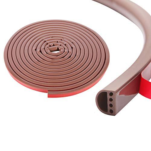 Qishare Tira de Silicona Tira de Sellado de Diseño de Múltiples Orificios Para Puertas y Ventanas, Anticolisión, Insonorizada, Impermeable, a Prueba De Polvo, a Prueba De Viento, 6M(D9*6mm, Marrón)