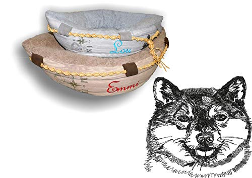 LunaChild Hundebett Hund Boot Böötchen Shiba Inu 3 Hundeboot Sofa Lounge Hundelounge mit Name Wunschname Snuggle Bag Größe XS S M L viel Farben Hundekörbchen
