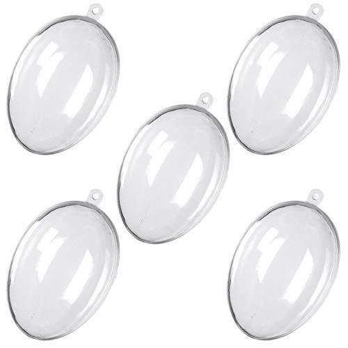 【TKY】 プラスチックボール プラスチック 球 オーナメント ボール 飾り 透明 中空 装飾 収納 DIY 5個 セット 卵型
