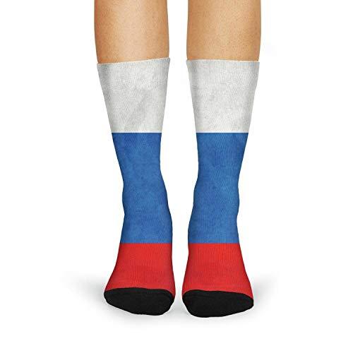 Novelty Casual Crew Socks Russian Flag Funky Socks for Women Fashion Patterned Socks