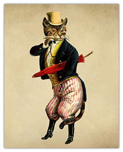 Vintage Victorian Cat Wall Art Print Photo Unframed
