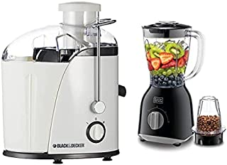 Black+Decker 400W Juicer Extractor With Wide Chute + Black+Decker 400W 1.0L Blender with 2 x Blender Jars & Grinder Mill