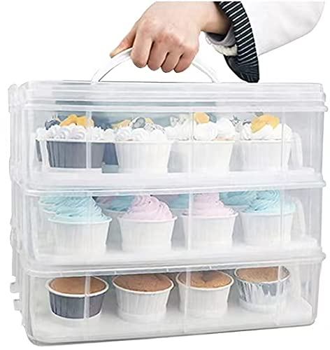 3 Tier Cupcake Carrier with Lid,Holds 36 Cupcakes or 3 Large Cakes Food Transporter Container with 3 Tier Stackable Layer Insert