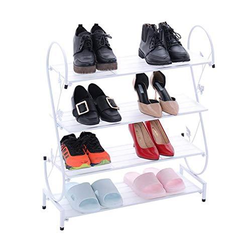 ZZYE Zapatero Rack de Zapatos Blanco 4 Niveles Pasillo apilable Torre de Almacenamiento Organizador Estantes Metal Compact Perchero Zapatero