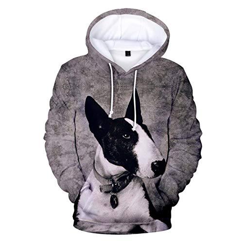 ZIGJOY Unisex Hoodies 3D gedrucktes Bull Terrier Sweatshirt Langarm Funny Dog Kaputzenpullover Leicht mit Taschen 4585 XXXL