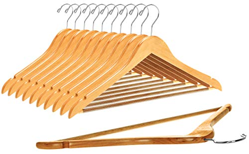 Quality Wooden Hangers - Slightly Curved Hanger Set in 10-Pack - Solid Wood Coat Hangers with Stylish Chrome Hooks - Heavy-Duty Clothes, Jacket, Shirt, Pants, Suit Hangers (Natural, 10)