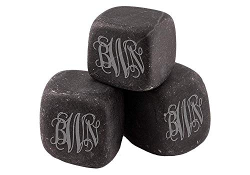 Personalized Script Engraved Whiskey Stones, Custom Whiskey Rocks, Chill Stones for Her, Wine Stones - BWS01