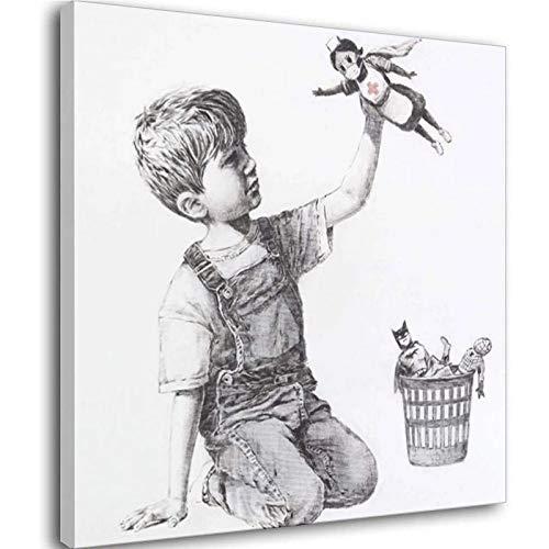 Cuadro nórdico de cambio de juego Banksy muestra a médicos enfermeras como superhéroes lienzo pintura de pared decoración en la oficina del hospital) Unframe-style1 30 x 30 cm