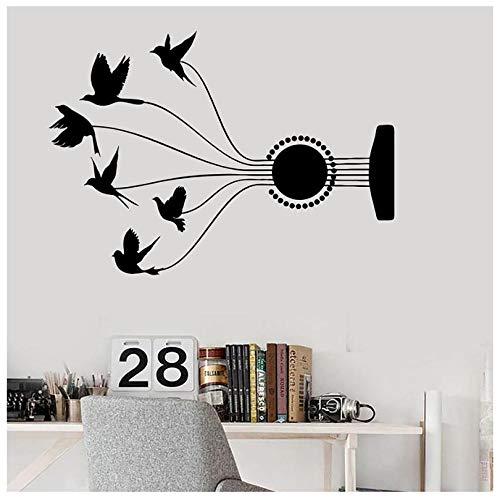 Hanzeze Gitaar string vogelhuisje muur Stickers Afneembare en levendige ontwerp DIY huis muur raam art deco sticker geschikt voor kinderkamer 57x80cm