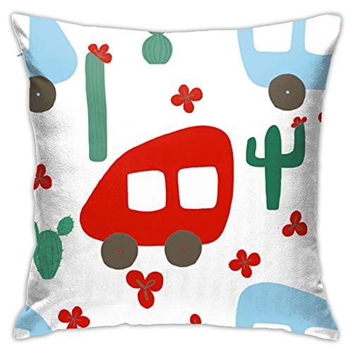 Funda de almohada con cremallera invisible y estampado de cactus y flores, color azul y verde