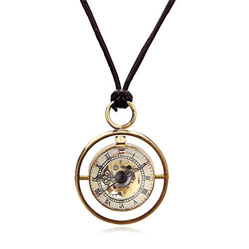 Yhjkvl-AC Reloj de Bolsillo Interior y Exterior con Anillo Dorado, Estilo Retro con Bola de Cristal Colgante de Bola de Cristal, Dorado, 4.7x1.5cm