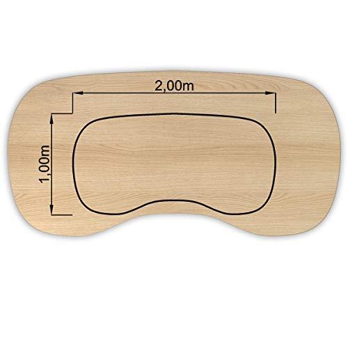 Bümö® stabile Tischplatte 2,5 cm stark - DIY Schreibtischplatte aus Holz | Bürotischplatte belastbar mit 120 kg | Spanholzplatte in vielen Formen & Dekoren| Platte für Büro, Tisch & mehr (Nierenform: 200 x 100 cm, Eiche)