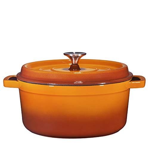 Bruntmor, Enameled Cast Iron Dutch Oven Casserole Dish 6.5 quart Large Loop Handles & Self-Basting Condensation Ridges On Lid (Pumpkin Spice)