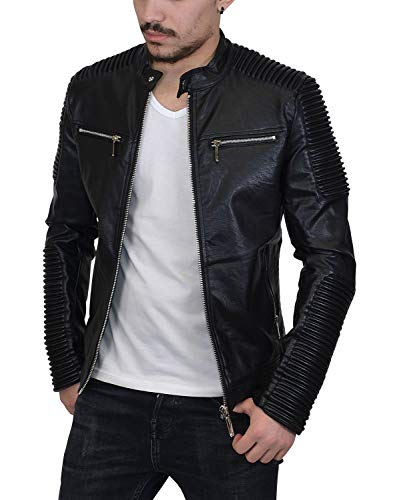 Prestige Homme Herren Bikerjacke Schwarz mit gesteppten Bereichen - Slim Fit Biker Jacke Kunstleder Motorrad Jacke