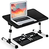 newoer Ultra Large Adjustable Laptop Bed Table Desk, Portable Standing Foldable Breakfast Tray, Kids Reading Holder, Notebook Stand with Cooling Fan for Sofa Couch Floor (Black)