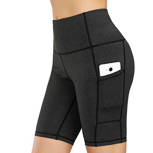 HMIYA Damen Fitness Shorts Sport Leggings Yoga Sporthose Kurze Yogahose Workout Tights Hohe Taille mit Taschen(1/2 Shorts-Grauschwarz,XL)