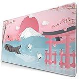 マウスパッド 大型 富士山 鯉のぼり サクラ 鳥居 和風 ゲーミング デスクマット かわいい 防水性 耐久性 滑り止め 多機能 超大判 40cm×75cm