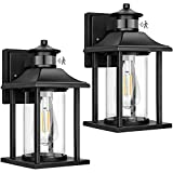 2-Pack Motion Sensor Outdoor Wall Lanterns, Waterproof Dusk to Dawn Outdoor Wall Sconces, Motion Activated Patio Wall Light Fixtures, Clear Glass Porch Lights Wall Mount for Entryway Doorway Garage