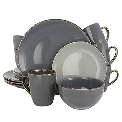 Elama Round Stoneware Grand Collection Dinnerware Dish Set, 16 Piece, Assorted Solid Gray