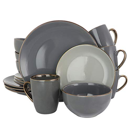 Elama Round Stoneware Grand Collection Dinnerware Dish Set, 16 Piece, Assorted Solid Gray