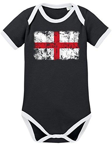 TShirt-People TSP England Vintage Flagge Fahne Kontrast Baby Body 74 Schwarz
