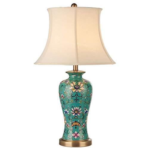 Lámparas de mesa de noche Lámpara de mesa de cerámica grande Pintada a mano Cerámica blanca Pantalla de tela TC Sala de estar Estudio Lámpara de comedor -28.7 pulgadas Lámpara de escritorio de noche