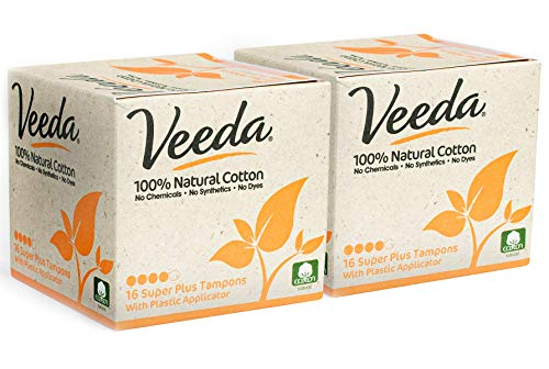 Veeda 100% Natural Cotton Super Plus Tampons with Compact Applicator, Chlorine and BPA Free, Unscented, 2 Packs of 16 Count Each