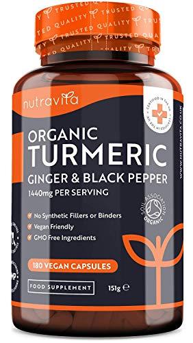 Cúrcuma Orgánica de 1440 mg con Pimienta Negra y Jengibre
