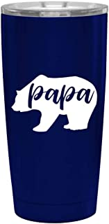 Papa Bear Blue Tumbler for Dad - Fun, Unique, Custom Designed Stainless Steel Copper Vacuum Insulated 20 oz Tumbler - Great Gift for Dad, Father, Men, Papa, Grandpa