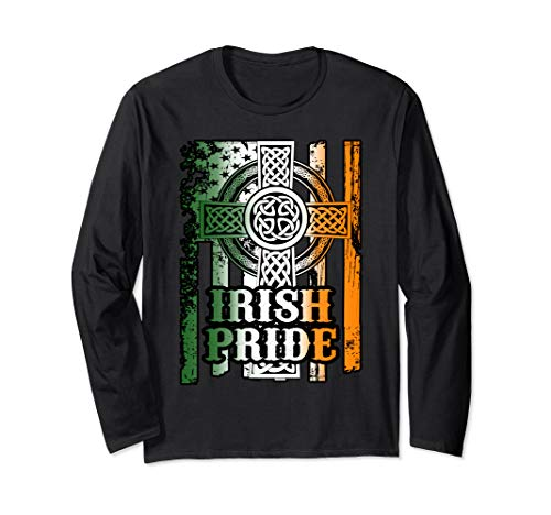 St Patricks Day Gift Irish Celtic Cross Long Sleeve Shirt