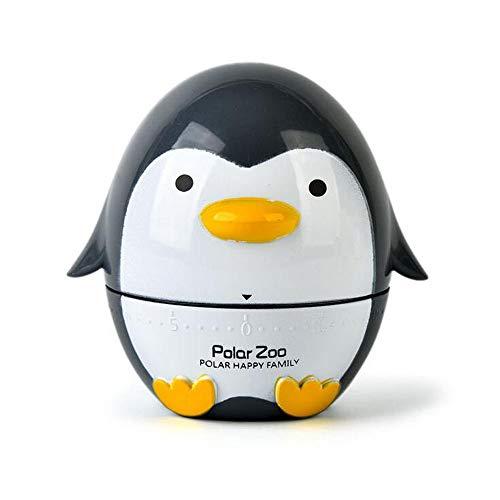 Belons Küchentimer 60 Minuten Kurzzeitmesser Pinguin Kurzzeitwecker Mechanische Eieruhr Manueller Zeitgeber Countdown Stoppuhr, Schwarz