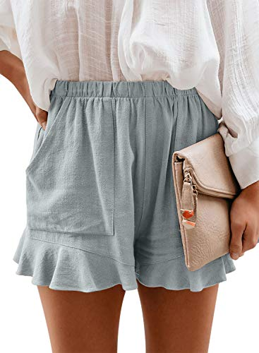 Paitluc Shorts for Women Casual Summer Elastic Waist Comfy Linen Shorts with Pockets Blue M