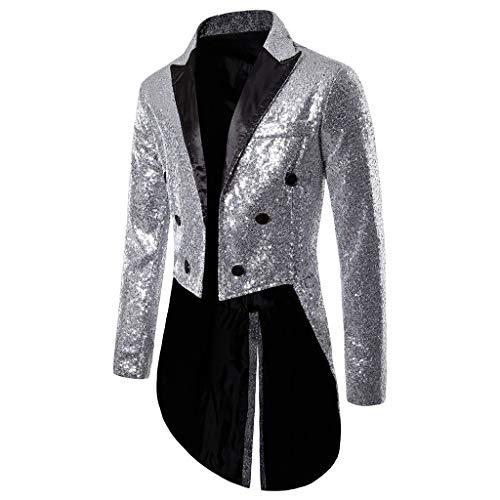 STRIR Trajes Hombre Chaquetas Casual Apto Fit Suit Traje Blazer de Lentejuelas Abrigo Tops Fiesta Chaqueta Esmoquin Estampada Manga Larga Traje de Rendimiento para Bodas y Fiestas (XL, Plata)