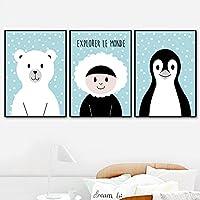漫画スノーベアペンギンガール保育園ウォールアートキャンバス絵画北欧のポスターとプリント壁の写真赤ちゃんの女の子の男の子の部屋の装飾| 40x60cmx3フレームなし