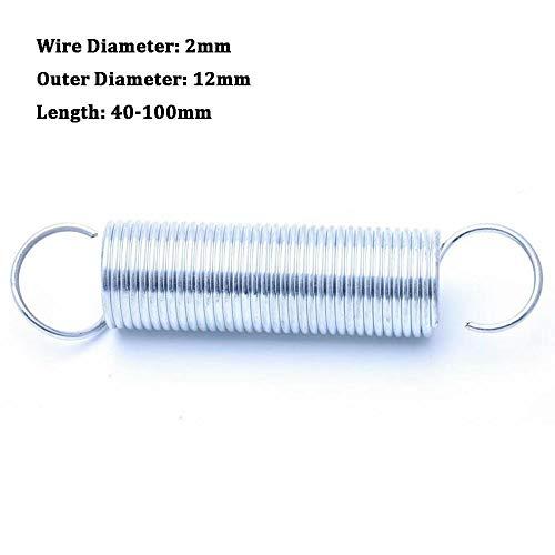 NO LOGO L-Yune, 1Pcs Zugfeder mit Haken Aussendurchmesser 12mm Weiß verzinkt Zugfeder Drahtdurchmesser 2mm Länge 40-100mm (Größe : 2 x 12 x 45mm)